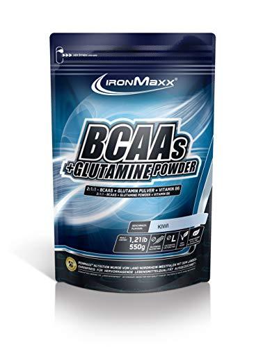 IronMaxx BCAA Pulver + Glutamin Pulver – Hohe Konzentration an Aminosäuren und L-Glutamin – Muskelaufbau und Muskelerhalt – Vitamin B6 – Wenig Kohlenhydrate & Zucker – Kiwi-Geschmack – 550g