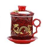 Drago cinese modello tea-mug con colino infusore e coperchio, tazza da tè e piattino in ceramica comodo sistema di porcellana personal Tea Cup, 400ML- Rosso