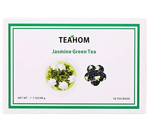 Té Verde con Jazmín-Hojas de Té Verde de Loose-Té de Desintoxicación 100% Natural Poderosos Antioxidantes,Cosecha Fresca de Hojas Sueltas de té Verde-16 Bolsitas de Té