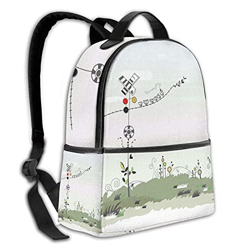 fepeng Mochila duradera de pastizales colegio bolsa de escuela niño niña hombres y mujeres mochila de viaje, Grassland, Talla única