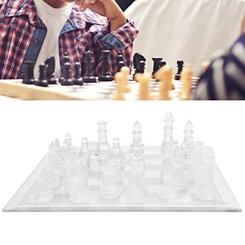 Matglas Schaakspel, Crystal International Schaakbord Schaakspel Schaakspel voor Feestelijke Familie Activiteiten Huisdecoratie