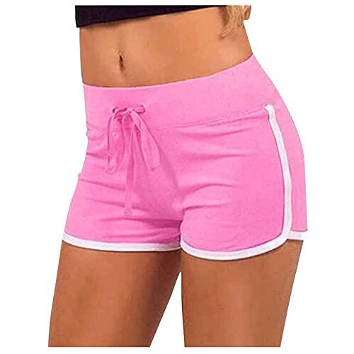 LSKFA Damen Shorts Sweatpants Sport Kurze Hose Baumwolle Laufshorts Jogginghose Stretch mit Tunnelzug JPQPS-8DI3C Rosa S