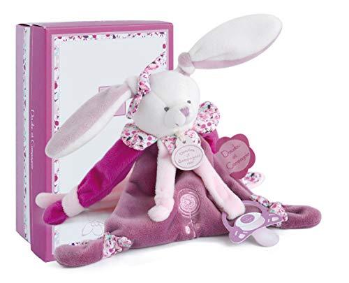 Doudou et Compagnie - Doudou Attache-Tétine Fille - Attache-Sucette Lapin - Rose - Jolie Boîte Cadeau - Lapin Cerise - DC2701