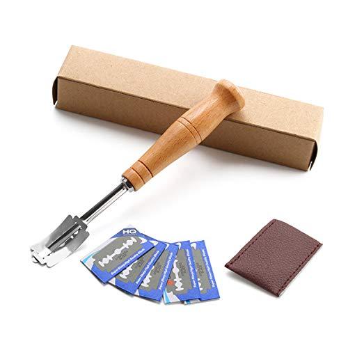 HelloCreate Pan Lame con 5 cuchillas de acero inoxidable herramienta de puntuación de masa de cocina