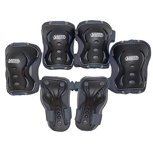 Best Sporting Schützer Set HQ, Kinder Knie-, Ellenbogen- und Handrückenschützer, Größe XS/S M (grau, M)