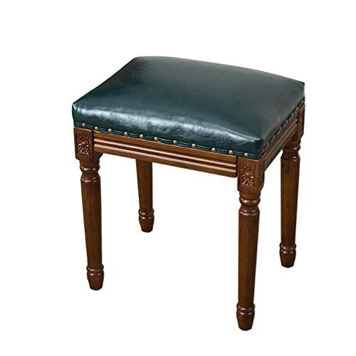 HLR Eetstoelen Solid Wood Square PU Gestoffeerde Eetkruk Maaltijd Tafel Side Bank Slaapkamer Dressing Kruk