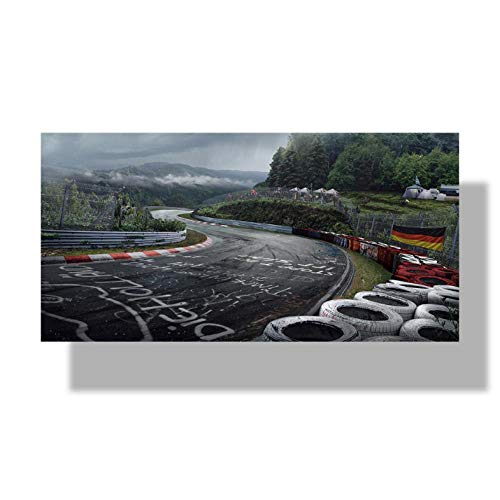wcyljrb Ölgemälde Wandkunst Poster Nürburgring Rallye Straße Sport Auto Track HD Druck Leinwand Malerei Wald Landschaft Wohnzimmer Wohnkultur Bild-40cmx70cm