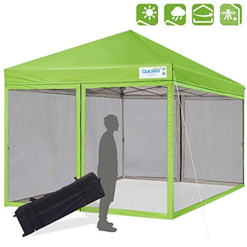 Quictent Upgraded 10X10 Ez Pop up Canopy with Netting Instant Screen House Instant Outdoor Canopy Mesh Sides Walls-(Green)