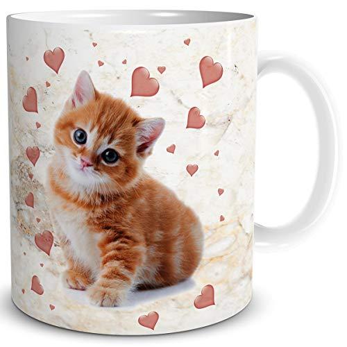 TRIOSK Tasse Katze lustig mit Katzenmotiv Katzen Herzen Geschenk für Katzenliebhaberin Frauen Freundin Mama Oma Kollegin