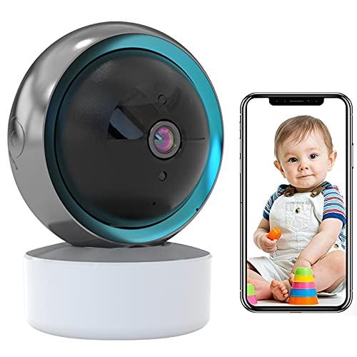 Baby Monitor Cámara de Seguridad WiFi Seguimiento Automático 1080P HD Cámara de Vigilancia WiFi Interior,Compatible con Alexa Audio Bidireccional,iOS/Android,Vision Nocturna HD,Alarma APP 【Cámara+32G】