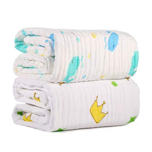 Aidle Baby Gauze Bath Towel Set - Baby Blanket Bath Towel of 6 Layers 100% Medical Grade Cotton Gauze, Natural...