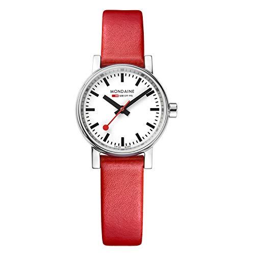 Mondaine Evo2 - Rote Lederuhr für Damen, MSE.26110.LC, 26 MM
