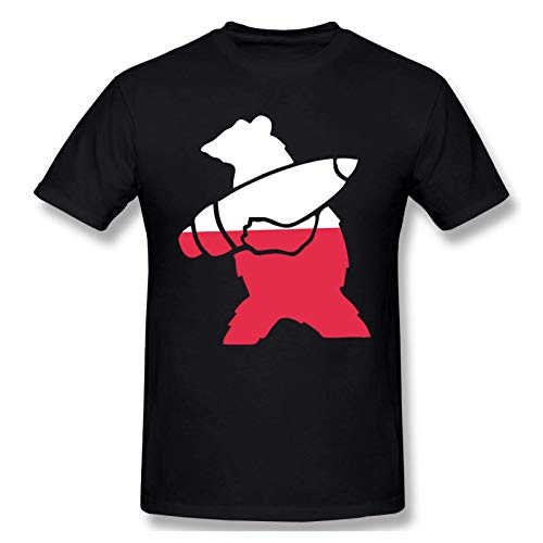 IUBBKI Camiseta básica de Manga Corta para Hombre Mens Print with Wojtek The Bear Poland Fashion Short Sleeve...