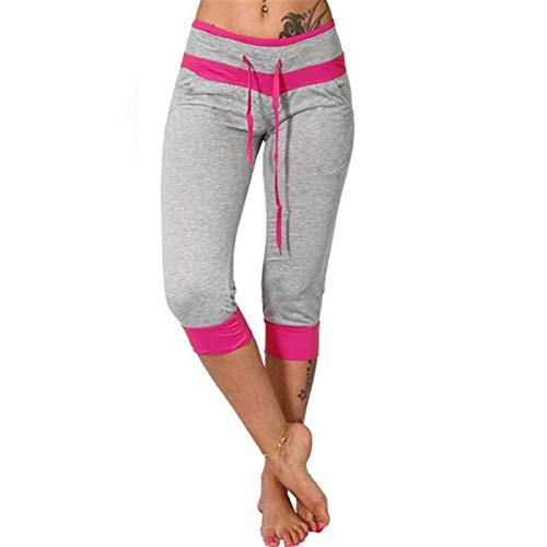 WUAI-Women Capri Yoga Sweatpants Casual Elastic Waist Drawstring Loose Workout Joggers Comfy Lounge Cropped Pants(Grey,3X-Large)