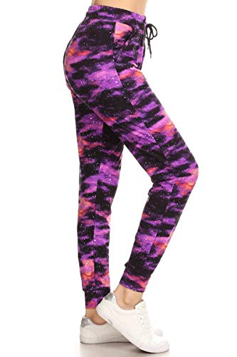 Leggings Depot JGAX-R555-3X Purple Galaxy Print Jogger Pants, 3X Plus