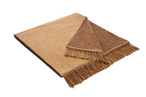 Bocasa Biederlack Decke / Überwurf aus Baumwolle, 50 x 200 cm, Camel, Salz- und Pfefferbeige