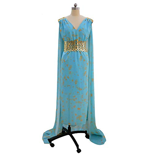 Xwenx Daenerys Targaryen - Conjunto de disfraces de cosplay para mujer, disfraz de Halloween, disfraz de anime, disfraz de Halloween, falda larga, azul, L
