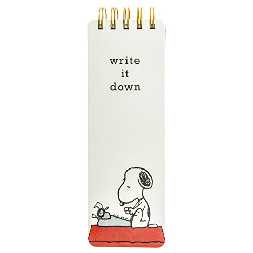 "Graphique Peanuts Snoopy Typewriter Reporter Journal, Charles Schulz Design & ""Write it Down"" Title, Embellished Gold Foil Portable Notebook, 150 Lined Sheets w/ Matching Cover Designs, 3"" x 8.75"