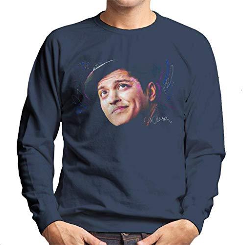 VINTRO Bruno Mars Hat Herren Sweatshirt Original Portrait von Sidney Maurer Professionell bedruckt Gr. X-Large, Oxford Navy