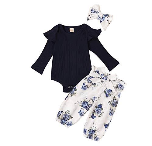 Newborn Baby Girl Clothes Winter Ruffle Long Sleeve Navy Romper+Floral Pants+Headband 3Pcs Fall Outfits Set (Navy Blue, 0-3 Months)