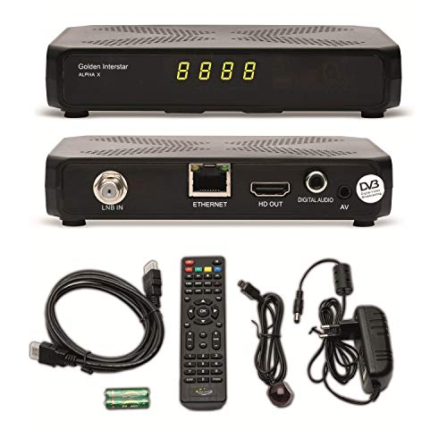 Golden Interstar Alpha X + ARLI HDMI Kabel vorprogrammiert Astra + auf Wunsch zum update Türksat Kanalliste Digitaler HD Sat Receiver ip tv YouTube Wetter IPTV xtream Stalker Multistream Linux USB Box