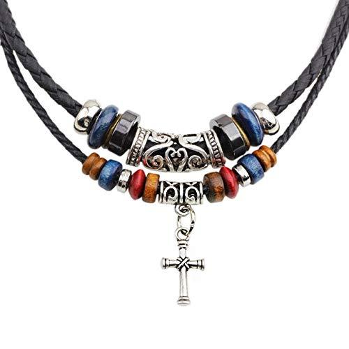 ZUOZUO Leder Halskette Mehrschicht Holzperlen Legierung Kreuz Anhänger Halskette Leder Kette Damen Herren Schmuck