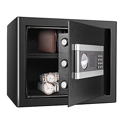 Kacsoo Elektronik Safe Tresor mit Schlüssel Safe Cabinet, Feuerfest Wasserdicht Elektronisches Passwort Safe Digital Triple Lock Core Box Home Office Safe Möbeltresor