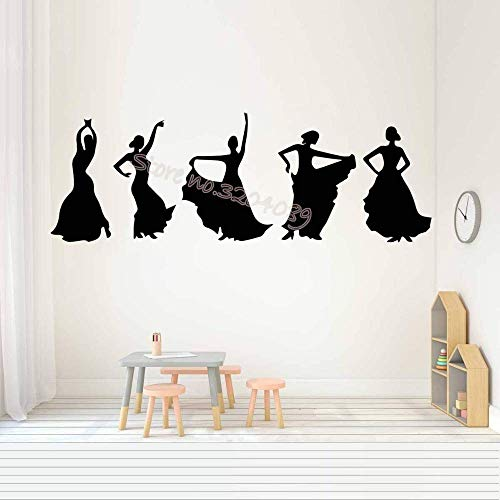 Bailarina De Flamenco Pegatinas De Pared De Baile Chica Apasionada Y Desenfrenada Silueta Elegante Sala De Estar Mural De Arte 122X42Cm