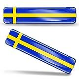 Biomar Labs® 2 x Aufkleber 3D Gel Silikon Stickers Sweden Flag Schweden Schwedische Flagge Fahne Autoaufkleber F 22