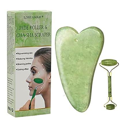 Rodillo de jade, masajeador facial de rodillo de jade natural, rodillo facial de jade natural, rodillo antienvejecimiento, masajeador facial con gua sha