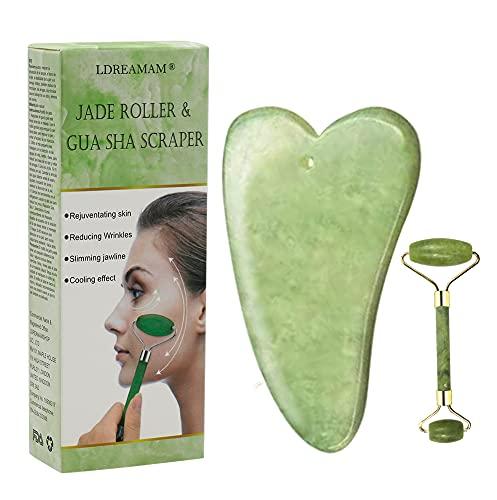 Jade roller,Rodillo Facial de JadeRodillo De Jade,Facial Masaje Piedra Gua Sha Jade, Masajeador Roller Tools Anti Aging