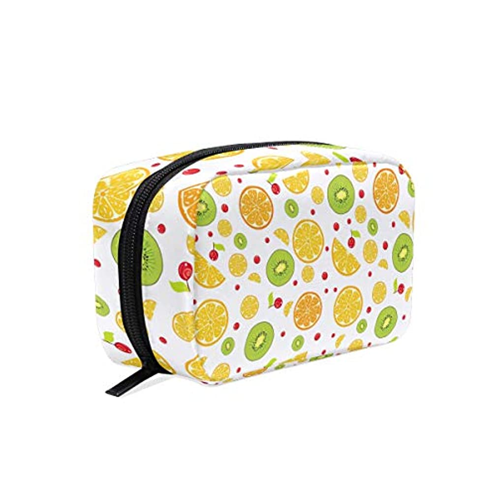 Macaque Around Orange Lemon Women's Large Cosmetic Makeup Bag/Pouch/Clutch Travel Case Organizer Storage Bag