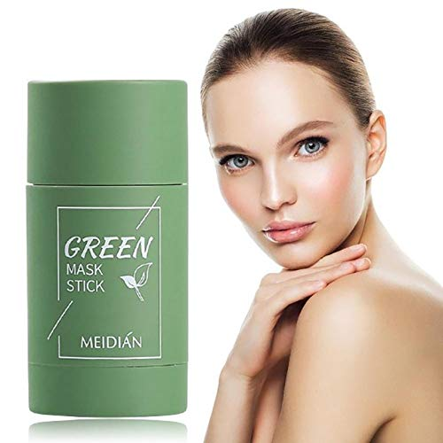 Tee Purifying Clay Stick Mask Ölkontrolle Gesichtsmaske,Stick Deep Cleansing Anti-Akne-Maske Fine Solid Mask Green Tea, Anti-Akne-Aubergine Fine Solid (Grun, 1 Stuck)