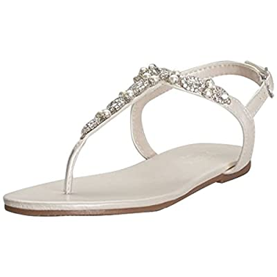 Pearl and Crystal T-Strap Sandals Style Sarina, Ivory, 8