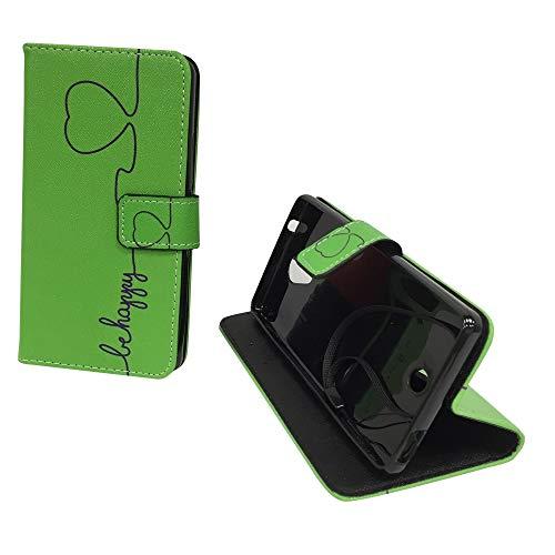 König Design Handyhülle Kompatibel mit Wiko U Feel Handytasche Schutzhülle Tasche Flip Hülle mit Kreditkartenfächern - Be Happy Design Grün