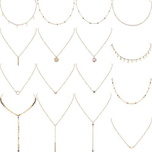 Yaomiao 16 Stück Geschichteten Choker Halskette Einstellbar Anhänger Halskette Mond Pailletten Choker Mehrschichtige Kette Halskette Set für Damen Mädchen (Gold)