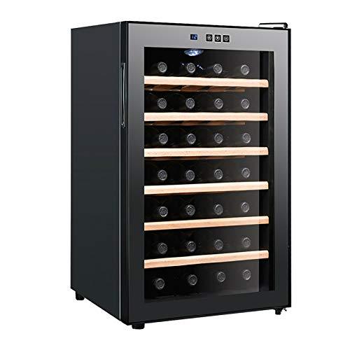 Weinkühler 28 Flaschen Zweizonen Weinkühlschrank mit Tür aus gehärtetem Glas aus gehärtetem Edelstahl Hohl gehärtetes Glas Isolierung Passend Champagnerflaschen freistehend und im eingebauten Stil
