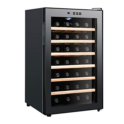 Wine Cooler 28 Bottle Dual Zone Wine Refrigerator with Stainless Steel Tempered Glass Door Hollow tempered glass Insulation Fit Champagne Bottles, Freestanding and Built-in Style