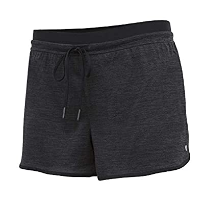 Layer 8 Ladies Quick Dry Two in One Running Yoga Work Out Short with Compression Shorts Underneath (Small, Rich Black Heather/Rich Black)