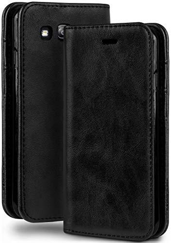 moex Booklet in Lederoptik - Kartenfächer & Aufstellfunktion kompatibel mit Samsung Galaxy S3 / S3 Neo | Eleganter 360 Grad Vollschutz, Schwarz