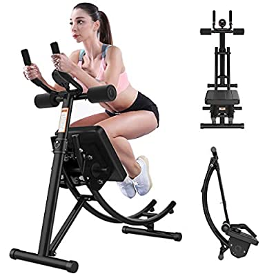 Tengma Adjustable Fitness Core & Abdominal Trainers,Roller Glider Beauty Waist Machine Abdominal Crunch Coaster Home Gym Strength Training Foldable Workout Fitness Equipment