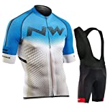 Ducomi Rafael - Juego de ciclismo para hombre compuesto por pantalones cortos + camiseta con cremallera – Conjunto de ropa para bicicleta transpirable con base de gel reforzado (azul, 2XL)