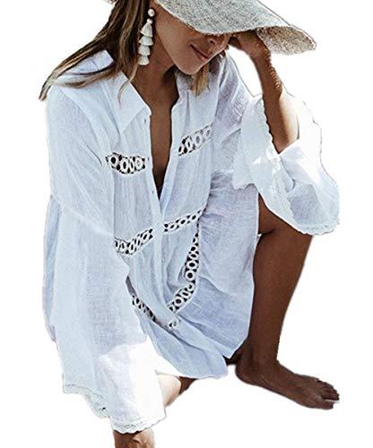 L-Peach Femme Col V Profond Chemise Longue Mini Robe de Plage Eté Paréo pour Maillot de Bain Bikini Cover Up, Blanc Dentelle, Taille unique