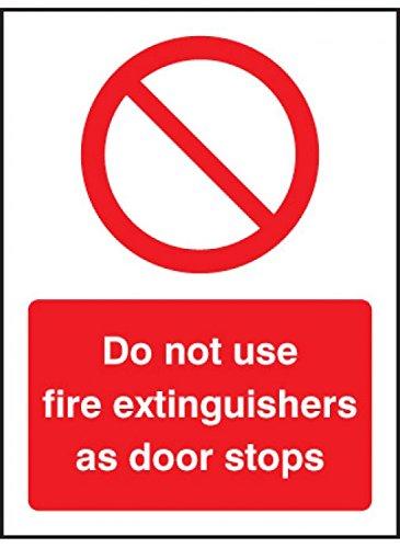 Caledonia Signs 21222E Gebruik geen brandblussers als deurstopbord, zelfklevend vinyl, 200 mm x 150 mm