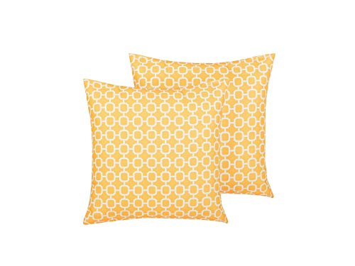 Beliani Set of 2 Outdoor Scatter Pillows Yellow Polyester Cover Zippered Garden Patio
