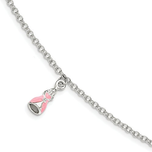 Sterling Silver Children's Enameled With 1.5 Inch Extension Princess Bracelet - 5.5 Inch