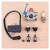 Carburador Bobina de encendido Magneto Tune Up Kit compatible con H-USQVARNA 128C 128LD 128R 125C 125E 125L Desbrozadora Desbrozadora Desbrozadora Accesorios