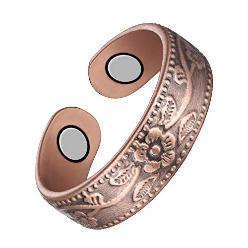 Jecanori Copper Magnet Rings for Women Men Pain Relief for Arthritis and Carpal Tunnel Elegant Vintage Flower Magnetic Therapy Copper Energy Adjustable Ring for Women with 2Pcs Strong Magnets