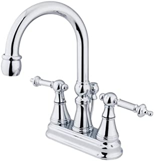 Kingston Brass KS2611TL Tuscany 4-Inch Centerset Lavatory Faucet with Brass Pop-Up, Polished Chrome