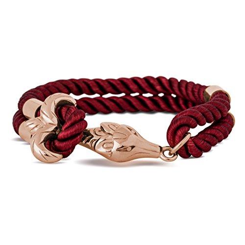 Akitsune Vulpes Armband | Armschmuck Frauen Herren Edelstahlverschluss Nylonband Fuchs Anker - Rosegold - Burgundy 18,5cm